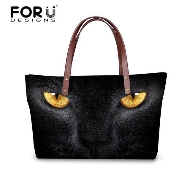2d95bbb40637 FORUDESIGNS 3D Black Cat Printing Handbags Best Winter Women ...