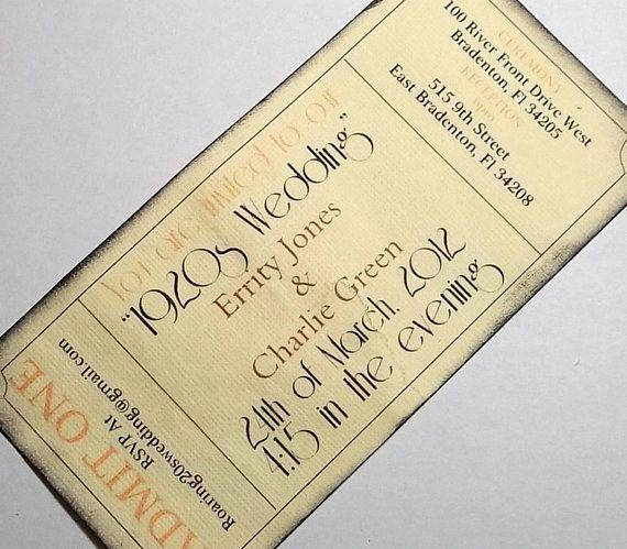 Items Similar To Roaring 20s Ticket Invitation Set 25 Rustic Save The Date Boho Wedding Birthday Unique Invite Bohemian