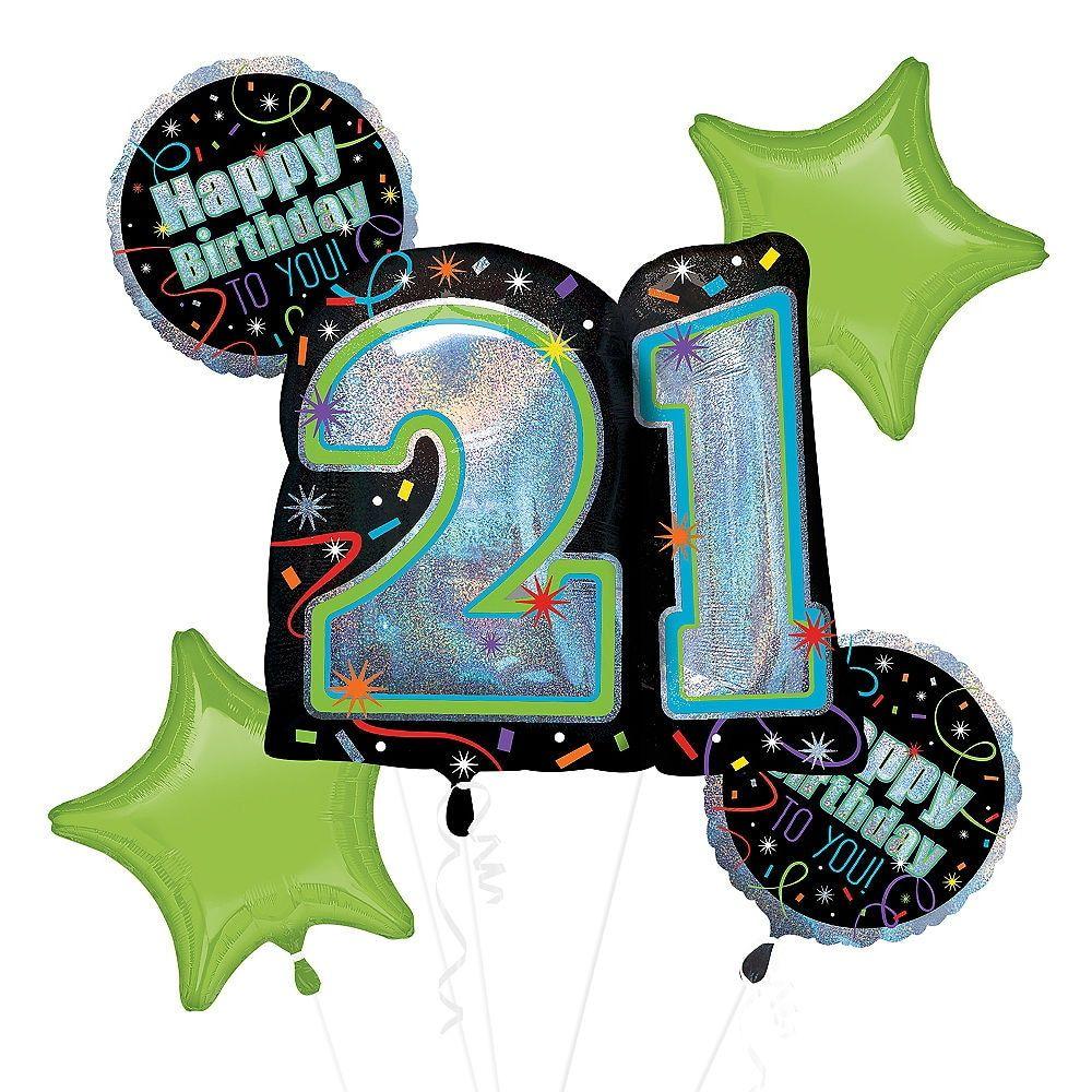 Brilliant 21st Birthday Balloon Bouquet 5pc 21st