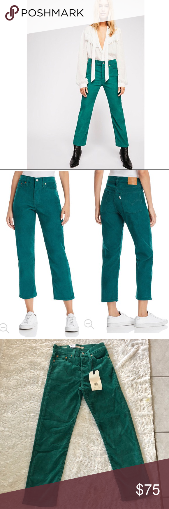 New Levi S Wedgie Straight Corduroy Green Pants Nwt My Posh Closet