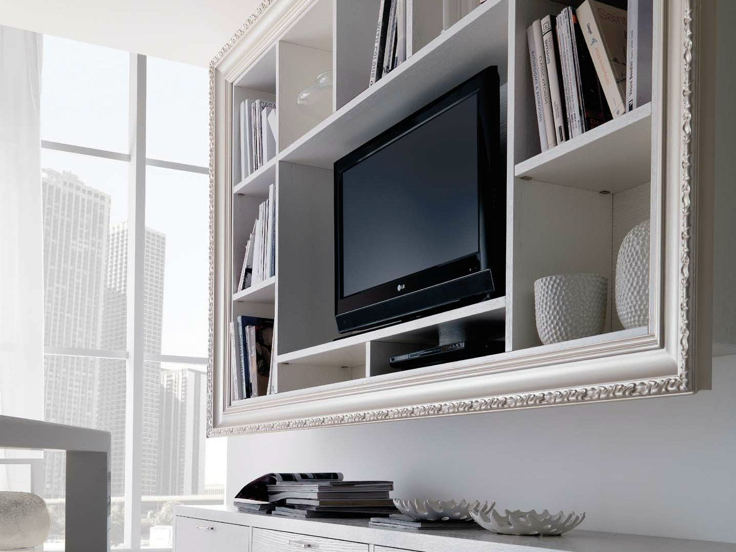 Cool white varnished wooden wall mounted tv cabinet also for Wall mounted tv cabinet design ideas