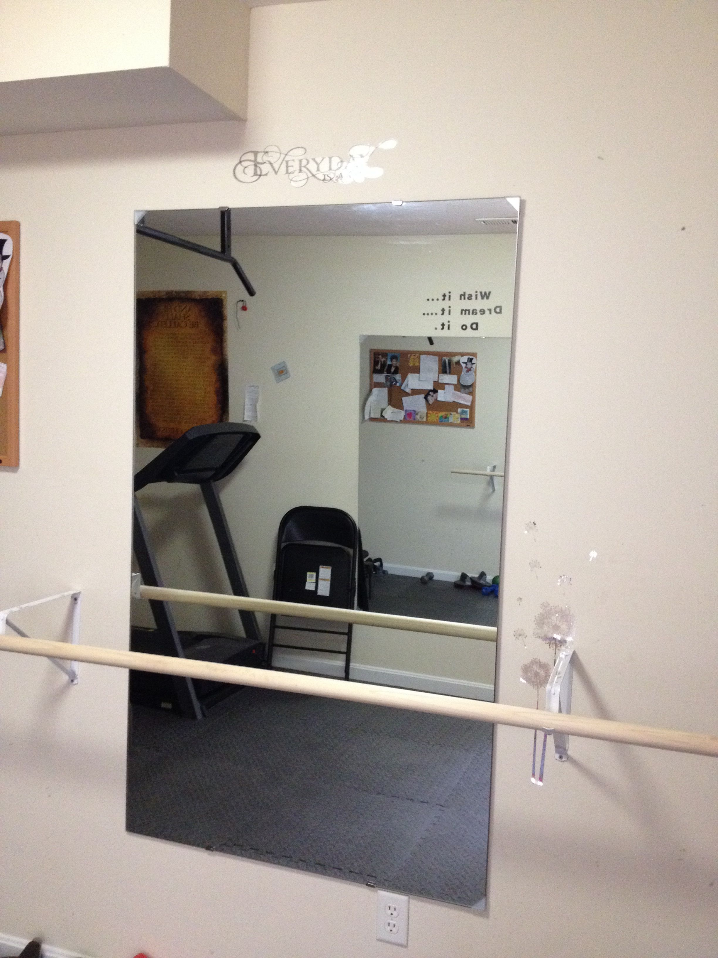 Diy Ballet Barre My Husband Created This For Me Using One Of The Smaller Mirrors In Our Workout Room With A 1 5 Dowel Offset From Wall Closet