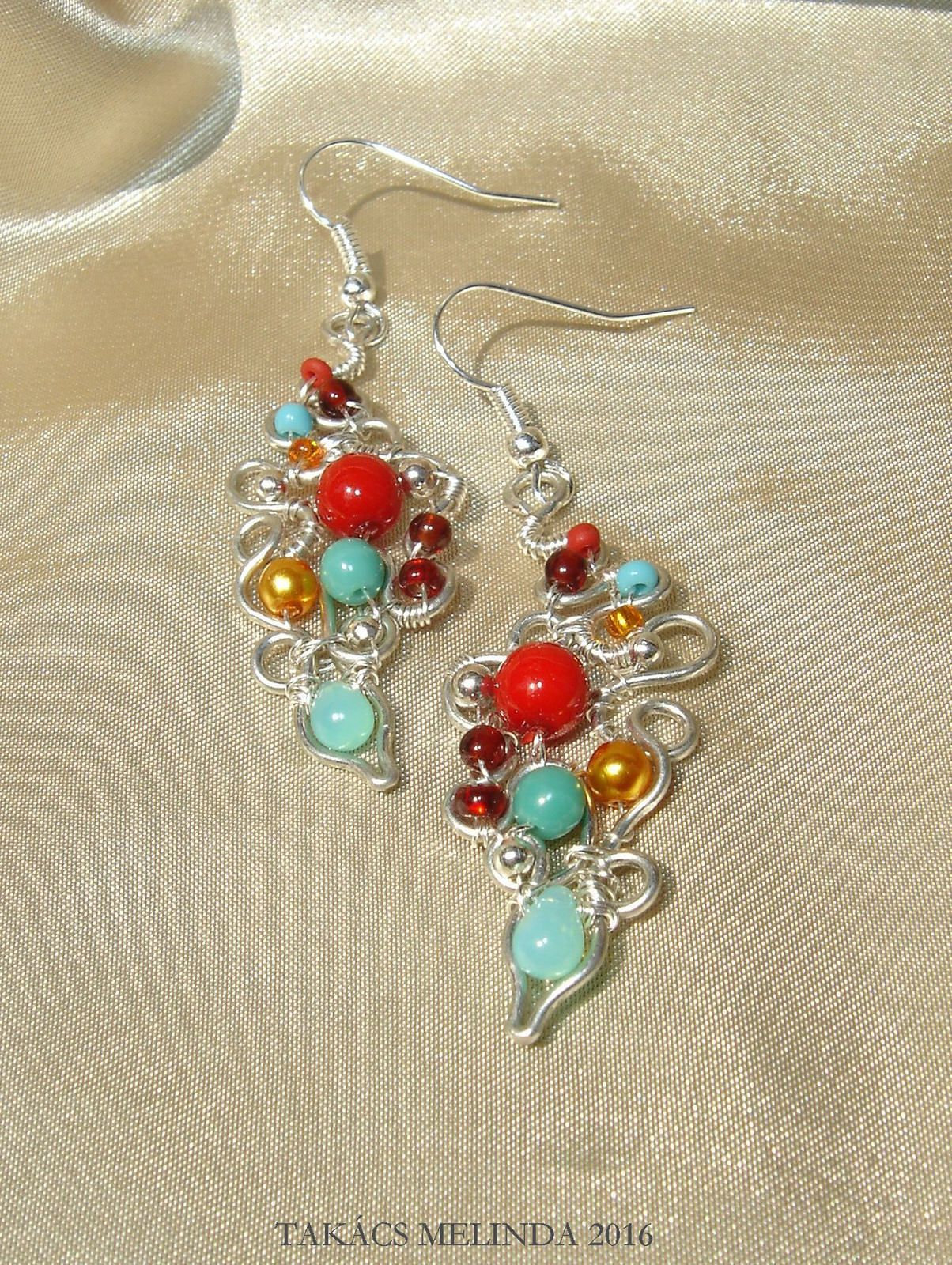 Miró wire wrapped earrings and bracelet