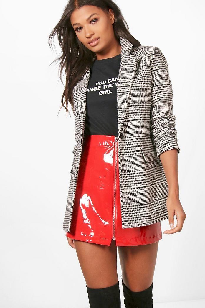 Check Wool Look Blazer Coat | Boohoo