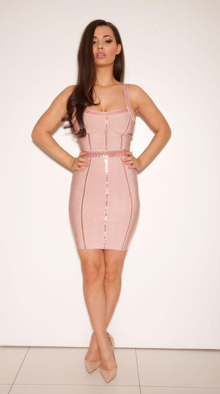 Clothing : Bandage Dresses : &-39-Anouska&-39- Pale Pink Sequin Bandage ...
