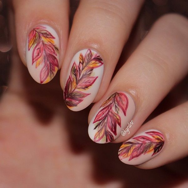 Wonderful looking leaf nail art design. You can always amp up the leaves  when you - 35 Leaf Nail Art Ideas Spring Nails