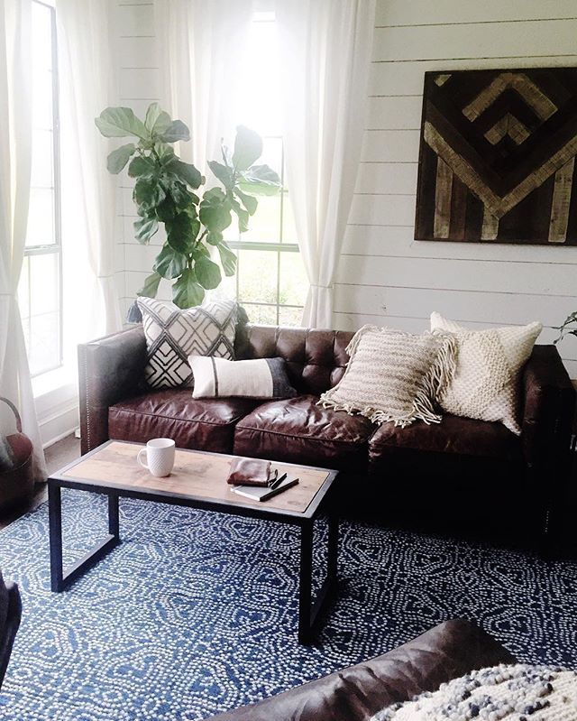 Loloi Rugs On Instagram A Little Preview Of What We Re Up To With Magnoliamade B Brown Leather Couch Living Room Brown Couch Living Room Living Room Leather
