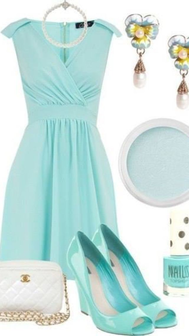 Lovely blue dress.