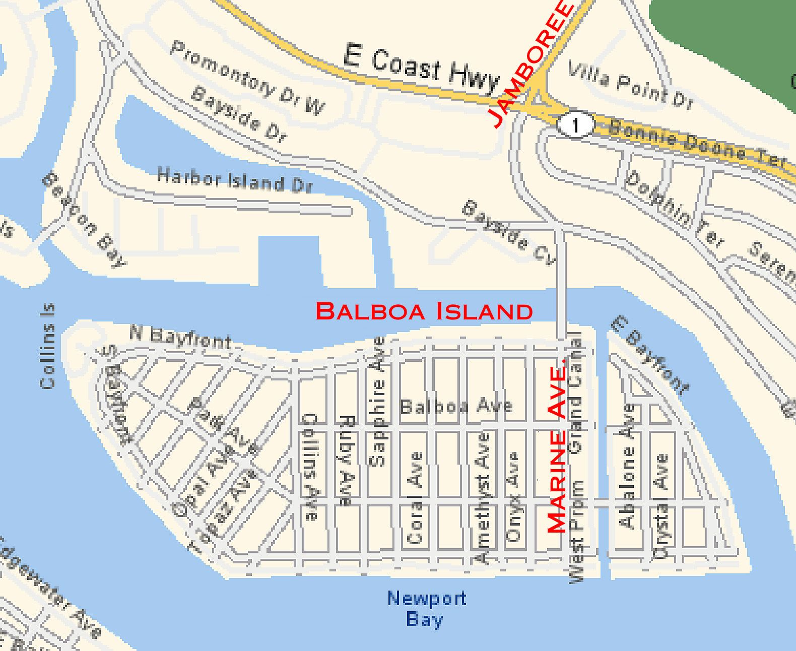 map of Balboa Island | Balboa Island and misc info | Pinterest