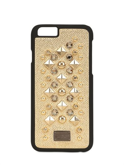 LIMITED EDITION - DOLCE & GABBANA - STUDDED LAMINATED LEATHER IPHONE 6 CASE - lvr.com