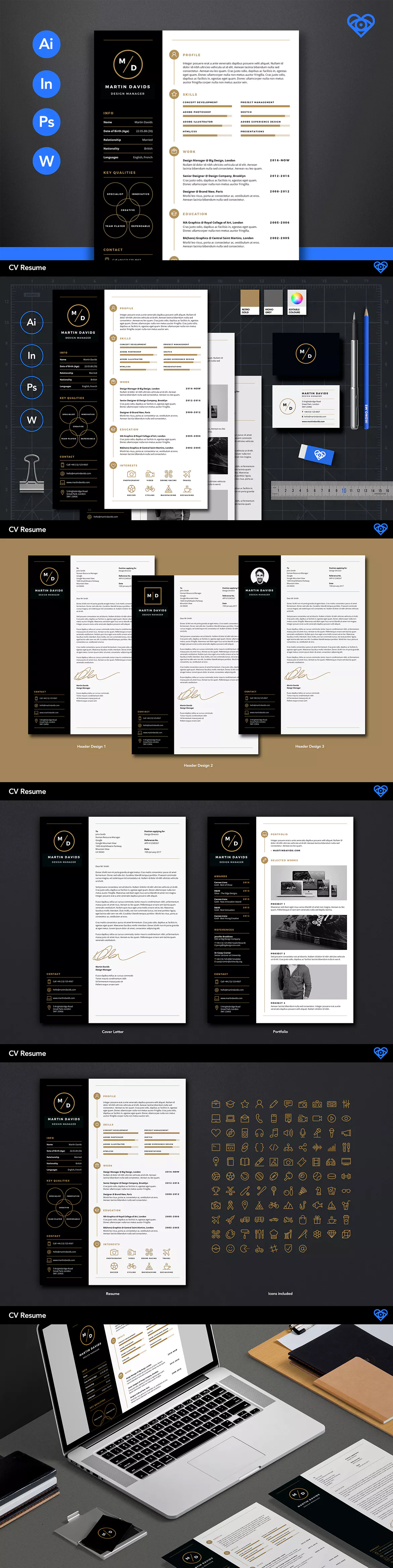 CV Resume Template AI, INDD, PSD, MS Word | Resume Templates ...
