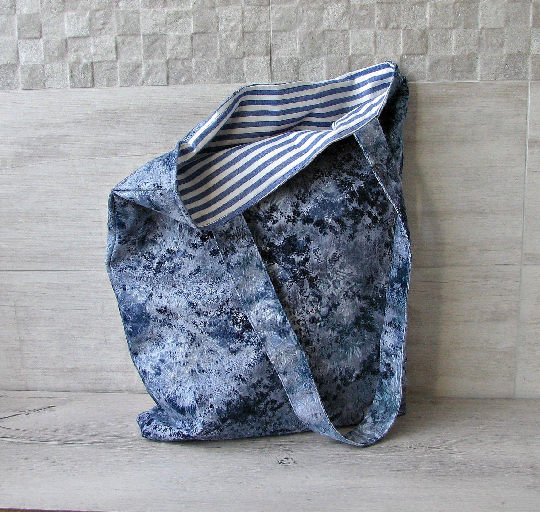 bbae8d486d2 Navy Blue Tote Bag, Custom Womens Handbag, Vintage Fabric baggy Purse in  marine style