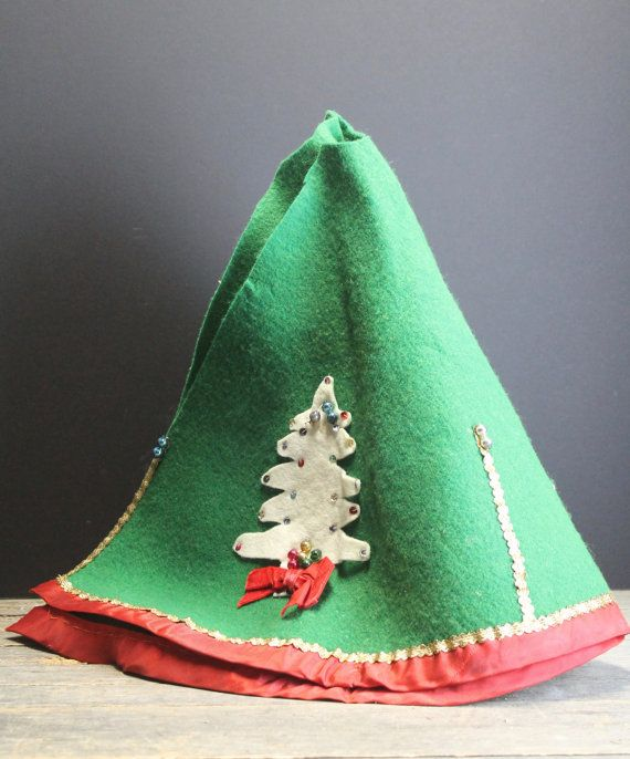 Vintage Green Felt Christmas Tree Skirt   Ornaments by MyBarn My