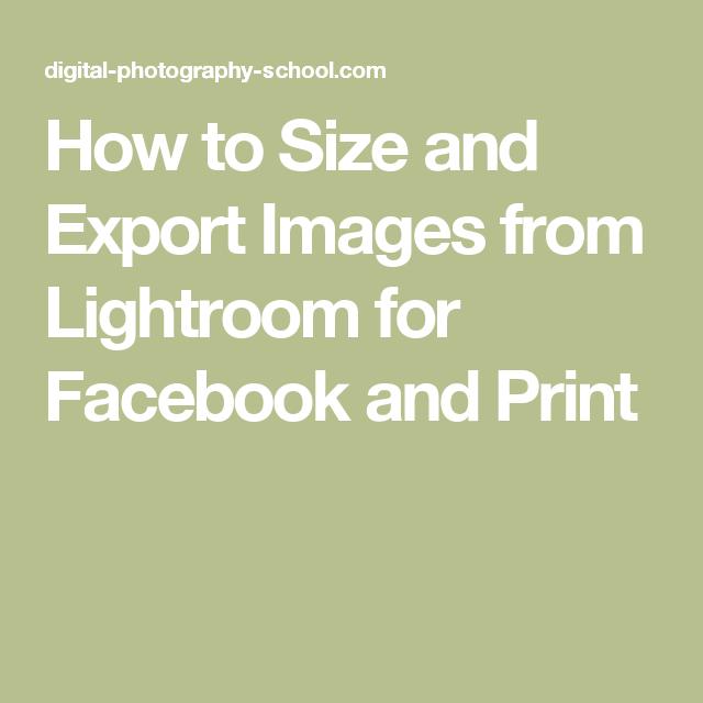 Lightroom facebook export
