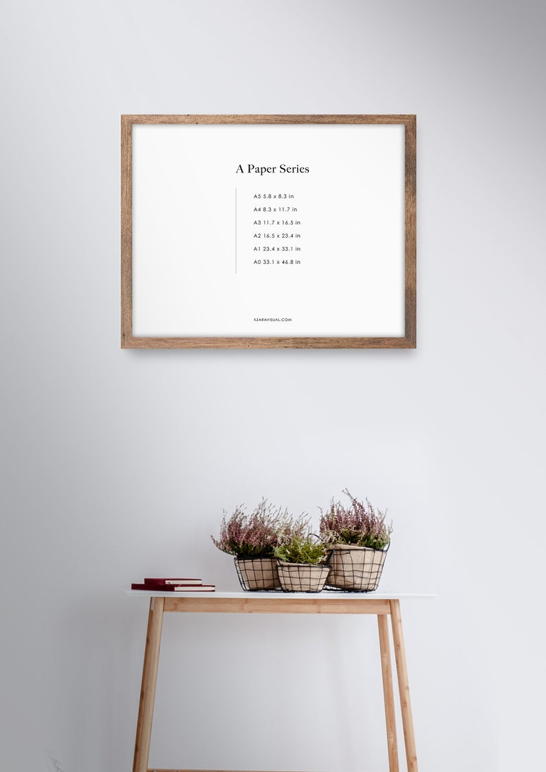 Frame Mockup 298 Walnut Wood Landscape Photo Frame Mockup Styled Thin Frame Mock Up A4 Wall Art Display Psd Smart Object In 2020 Frame Mockups Photo Frame Modern Frames
