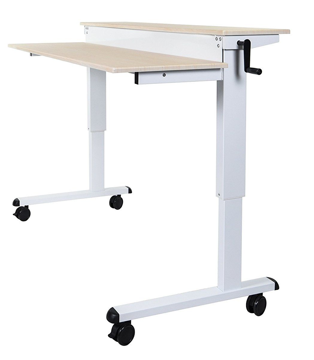 Adjustable stand up desk with heavy duty steel frame height
