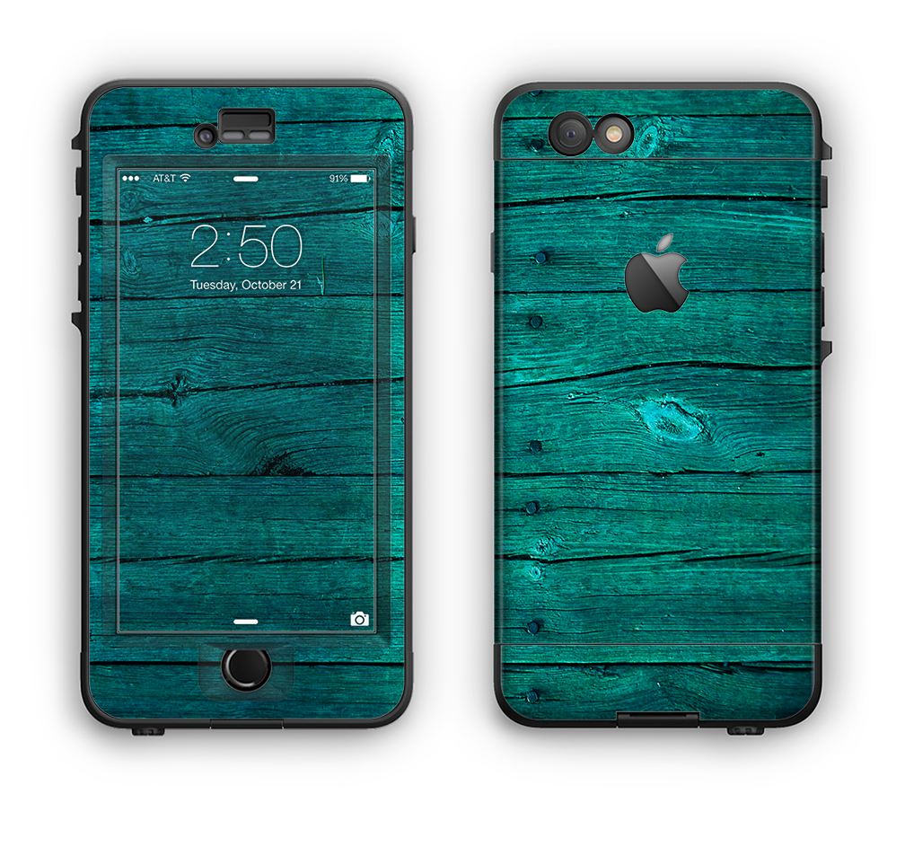 The Bright Emerald Green Wood Planks Apple iPhone 6 LifeProof Nuud Case Skin Set