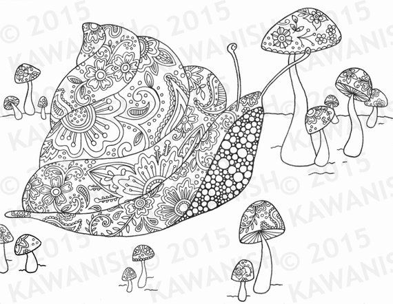 Snail And Mushrooms Adult Coloring Page Gift Wall Art Coloring