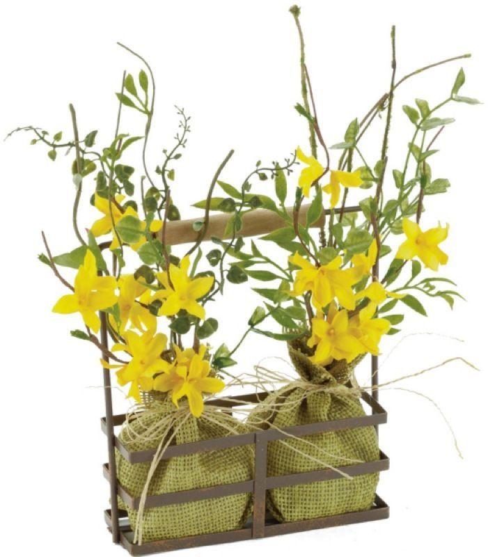 set 4 11 artificial yellow forsythia arrangement in bottle holder floral - Forsythia Arrangements