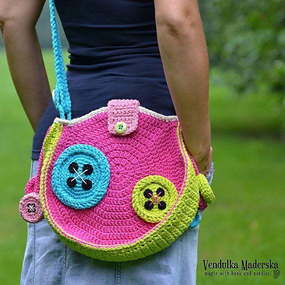 Crochet Buttons Bag - crochet pattern, DIY | Häkeln, Häkeltasche und ...