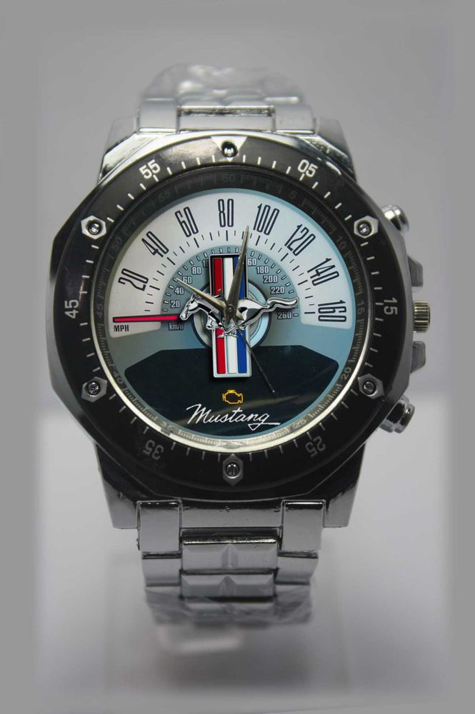 New Vintage Speedometer Ford Mustang Sport Watch Silver Stainless Steel  Band  Sport 0ae8001cda9