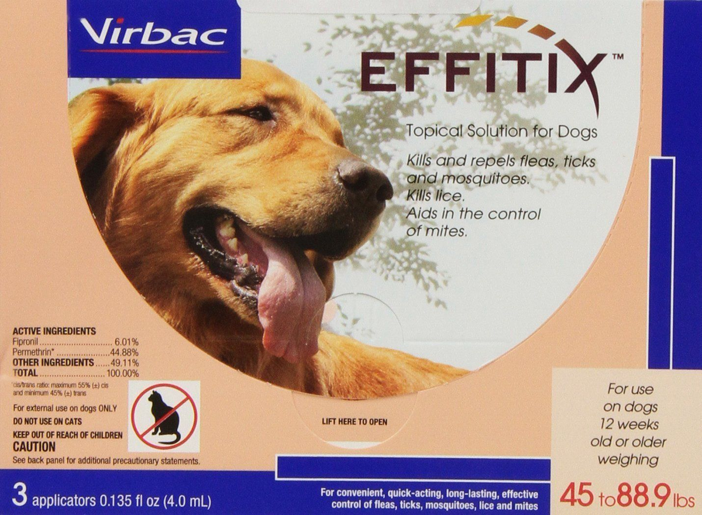 Virbac 18222 Effitix Topical Solution For Dogs 4588 9 Lbs 3 Month Supply Pink Dogs Fleas Large Dogs