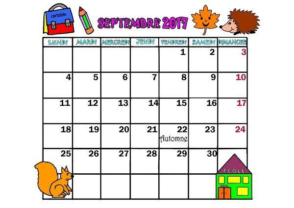 Calendrier 2017 Mois Septembre Octobre Novembre Decembre