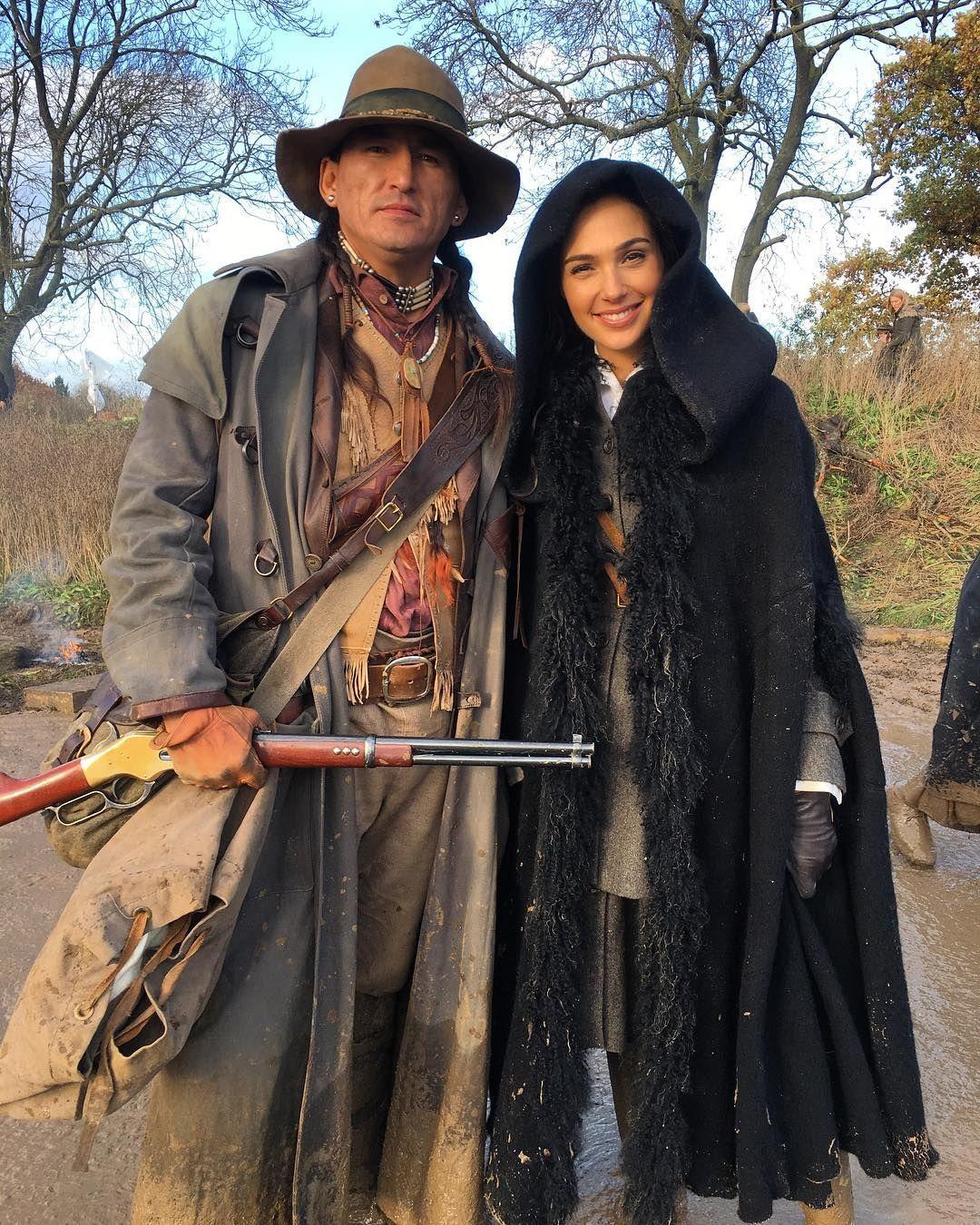 DC FILMS — Eugene Brave Rock and Gal Gadot on the set of...