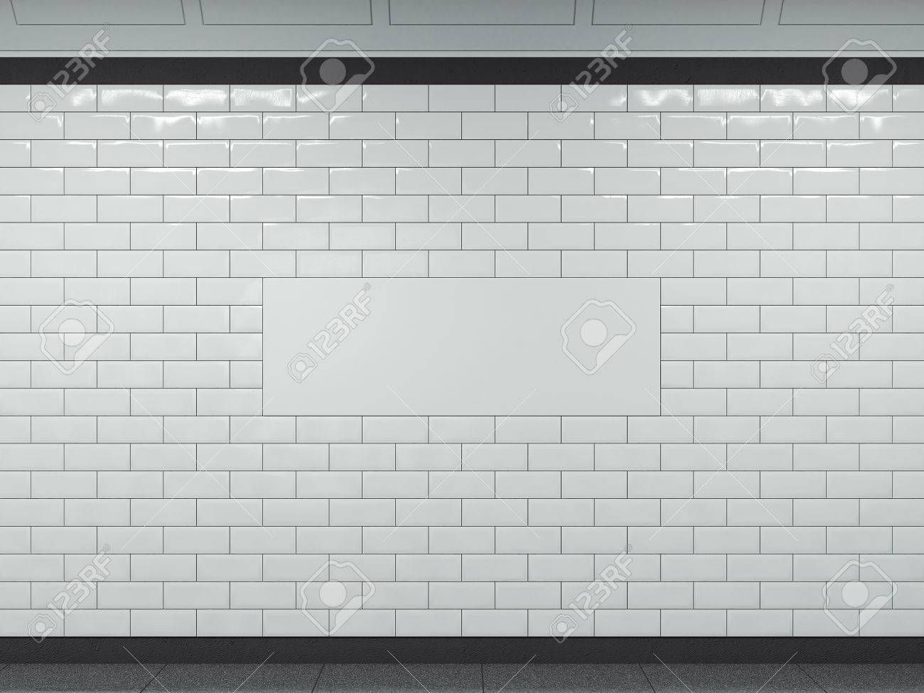 Wide white banner in subway 3d rendering