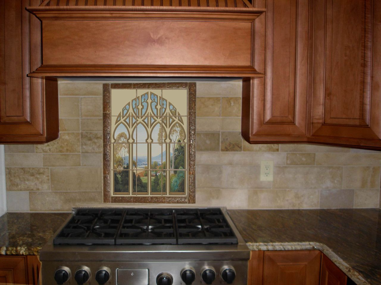 arched window art tile mural | tile murals, tile design and window