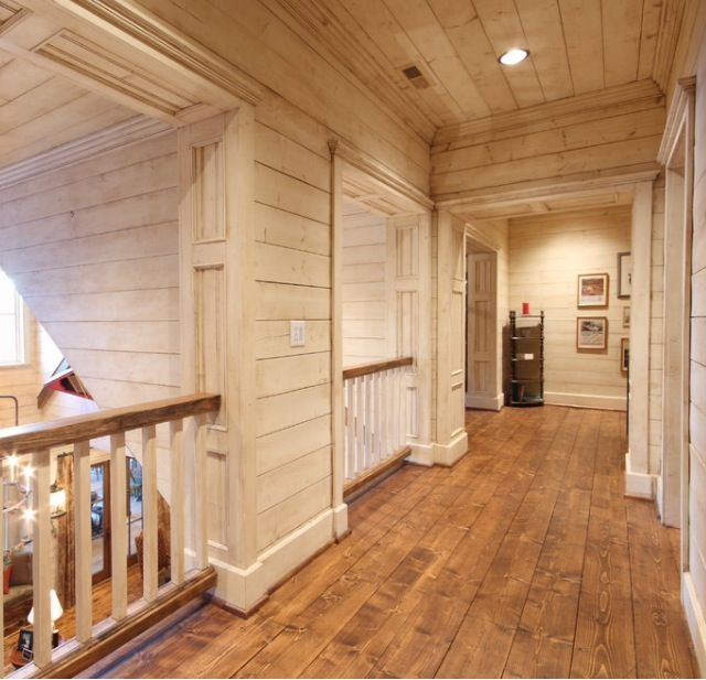 Hallway in a rustic home hallways pinterest for Hardwood floors upstairs