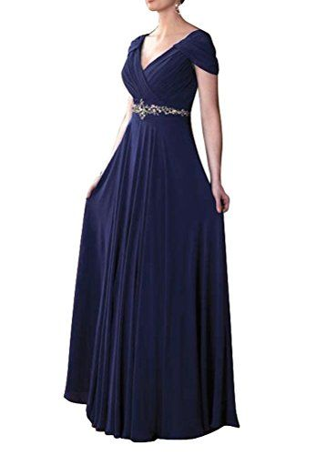 ShangYou Womens Cap Sleeve Vneck Ruched Waist Beaded Mother Dresses Navy Blue 26W -- You can get more details by clicking on the image.
