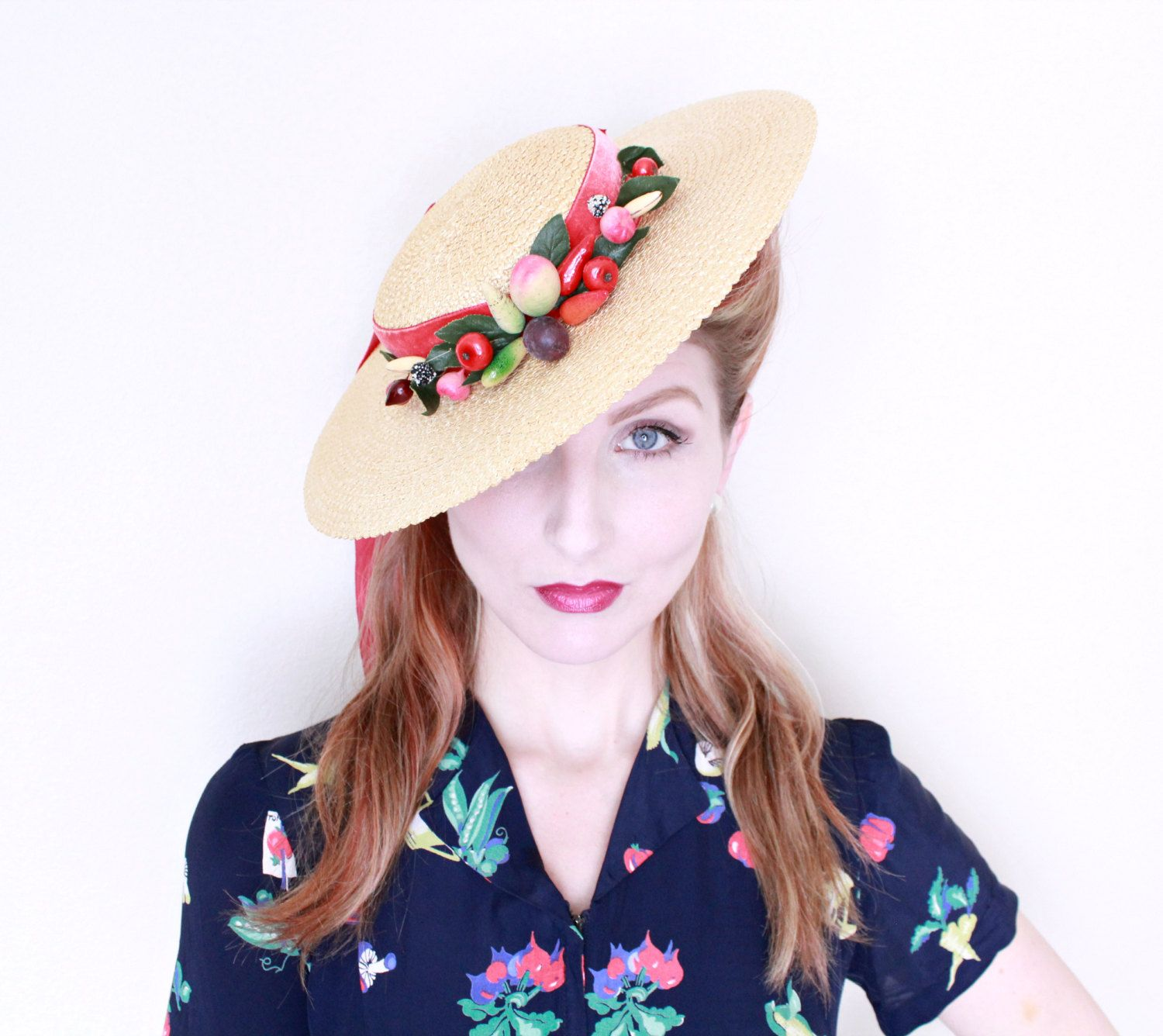 501b09029f3 1940s Hat   VINTAGE   Fruit   Wide brim   Saucer   Straw   Velvet Ribbon    ADORABLE   Kawaii by HighHatCouture on Etsy