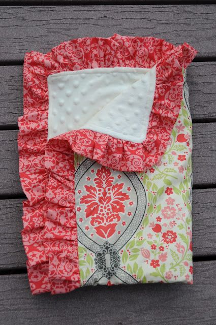 The Little Fabric Blog: Ruffled Minky Blanket Tutorial   Sewing for ...