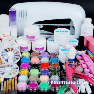 Nail Art Kit Lamp 24 Color Acrylic Powder Nail Art Kit Gel Tools Set 303 Ebay Acrylic Nail Kit Gel Nail Kit Diy Gel Nails Kit