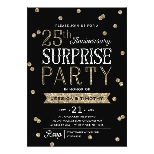 25th Wedding Anniversary Invitations Glitter Confetti Surprise Party Card