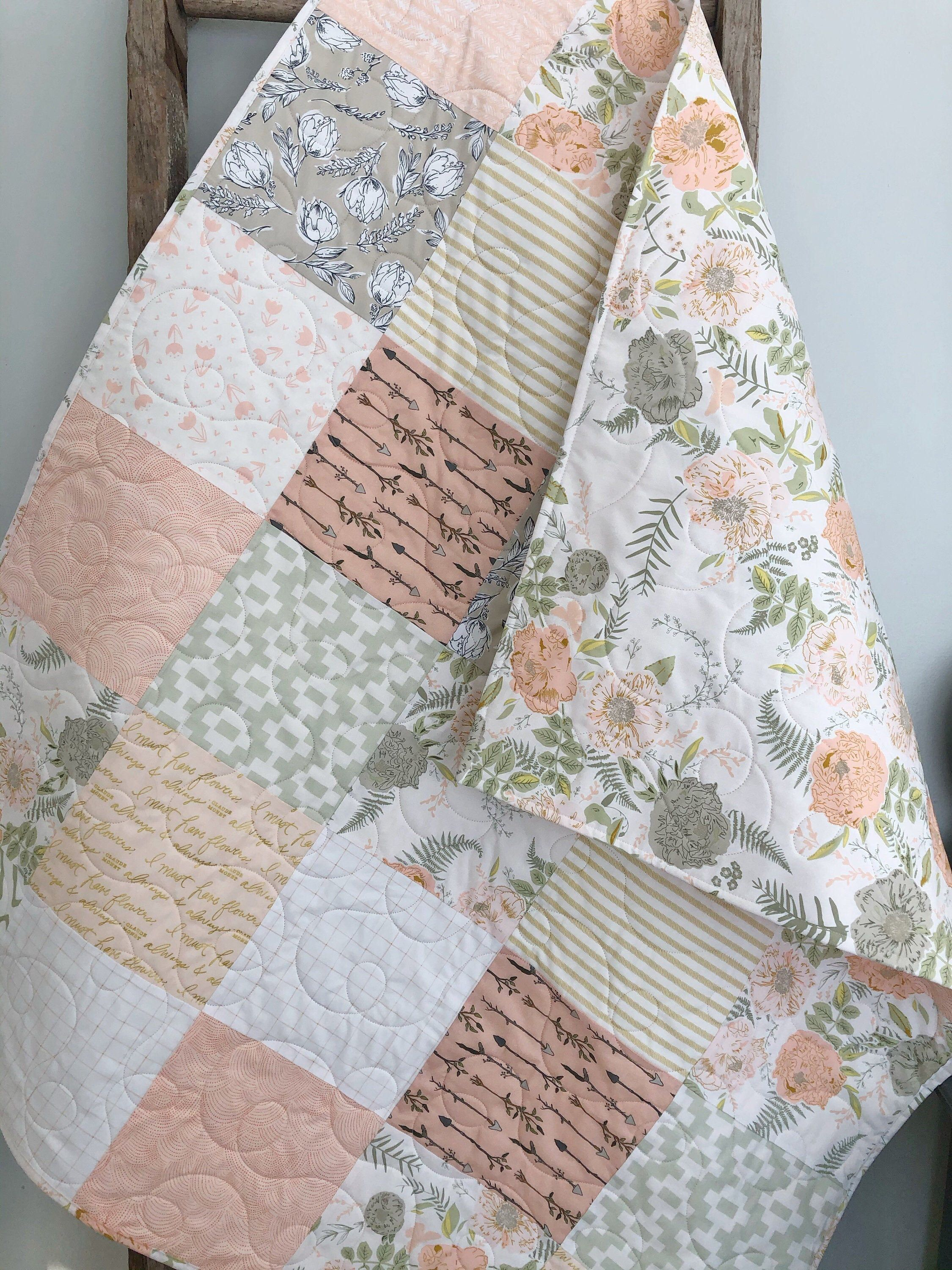 Peach And Sage Floral Baby Quilt Baby Girl Bedding Modern