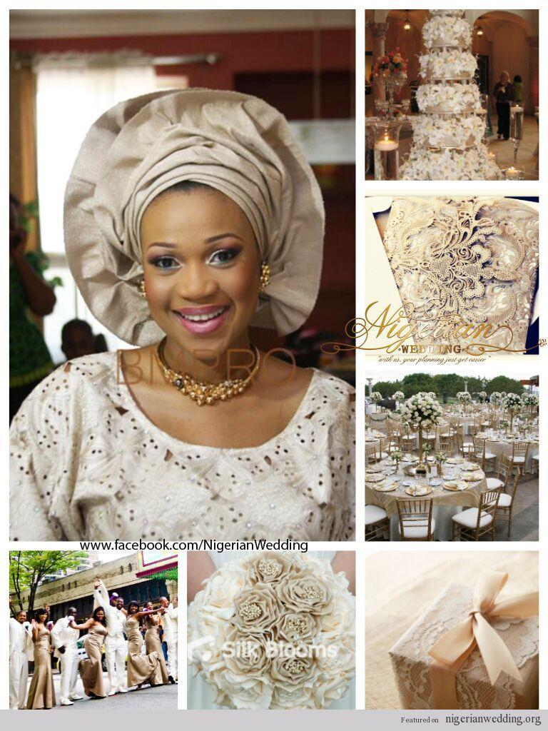 nigerian wedding champagne and cream wedding color scheme
