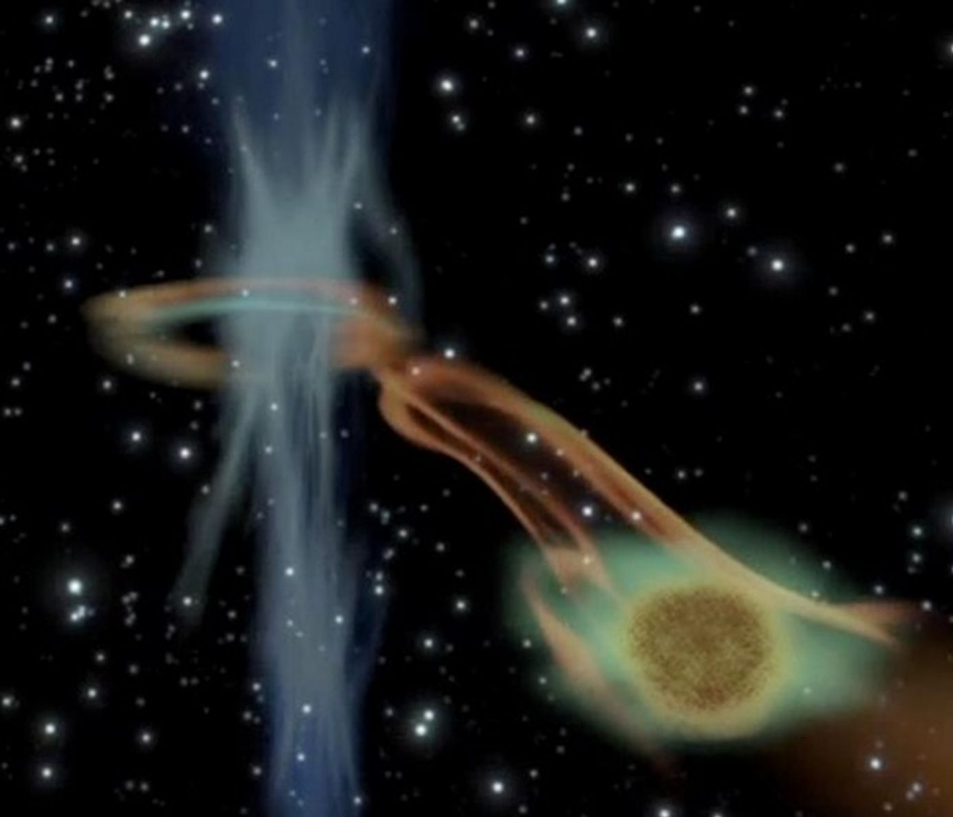In a cosmic first, astronomers have discovered a black hole chowing down on what may be a rogue 'super Jupiter' planet.