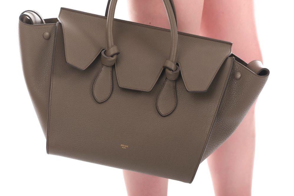 New Celine Tie Knot Bag Dark Khaki Satchel