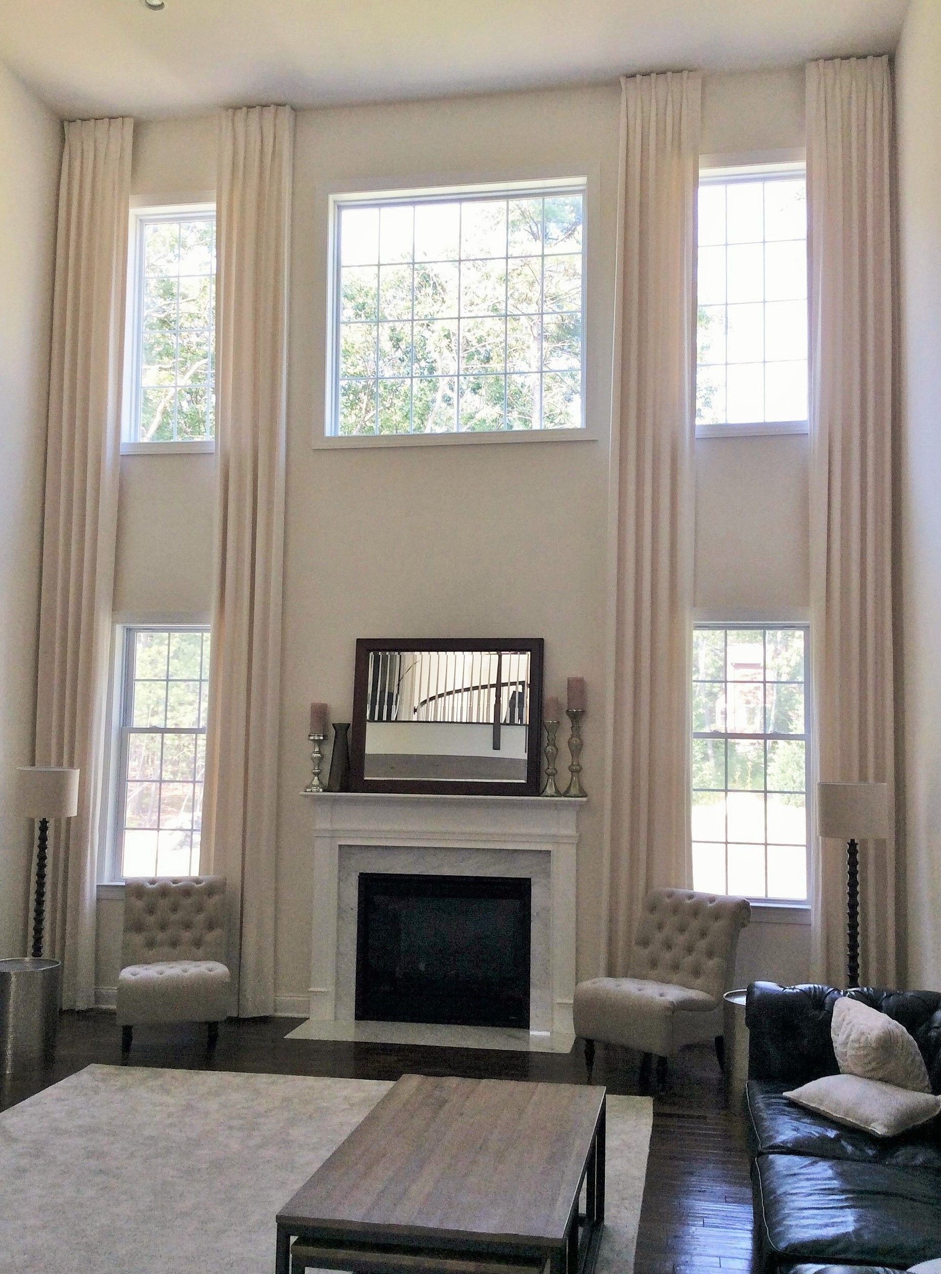 Two Story Drapery High Ceiling Living Room Window Treatments