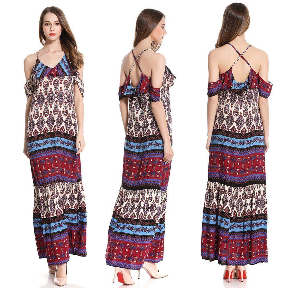 Women summer beach floral off shoulder evening party boho long dress