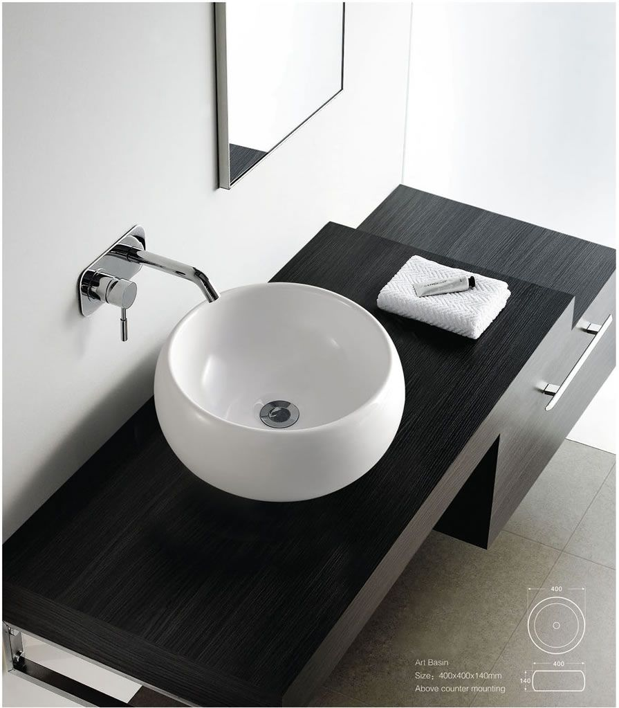 Contemporary Modern Round Ceramic Cloakroom Basin Bathroom Sink