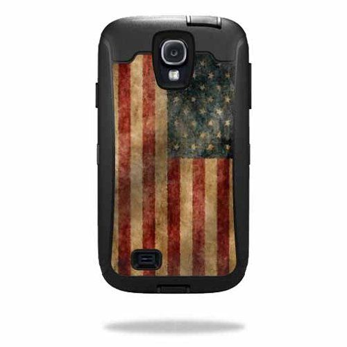 Mightyskins Protective Vinyl Skin Decal Cover for OtterBox Defender Samsung Galaxy S4 Case wrap sticker skins Vintage Flag