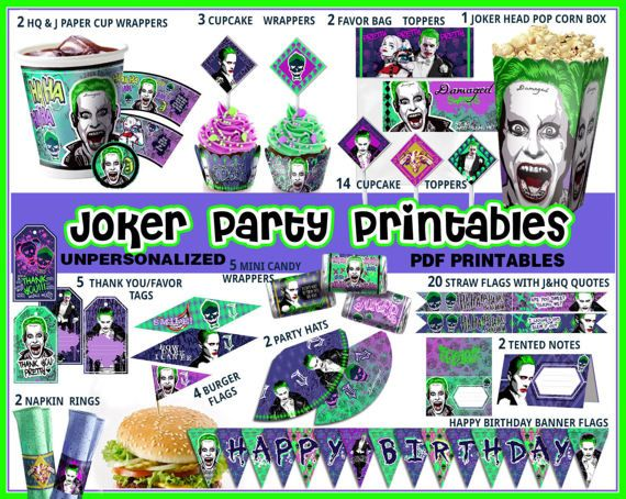 Joker Birthday Party Supplies Suicide Squad Decorations Banner Cupcake Wrappers To