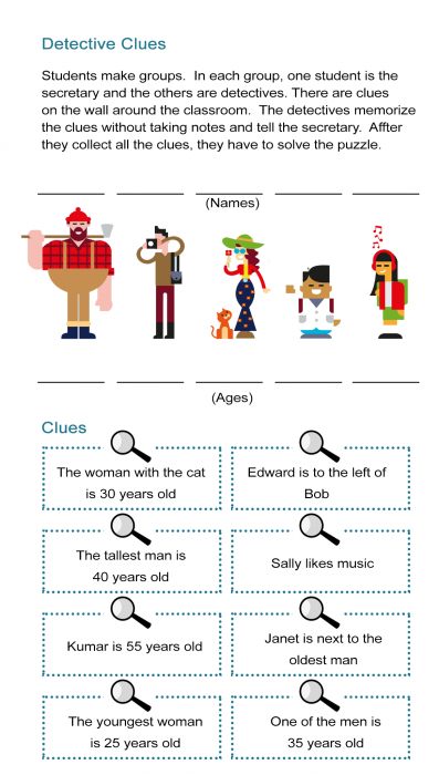 Detective Clues Solve The Mystery In The Puzzle Worksheet All Esl Mystery Games For Kids Spy Games For Kids Detective