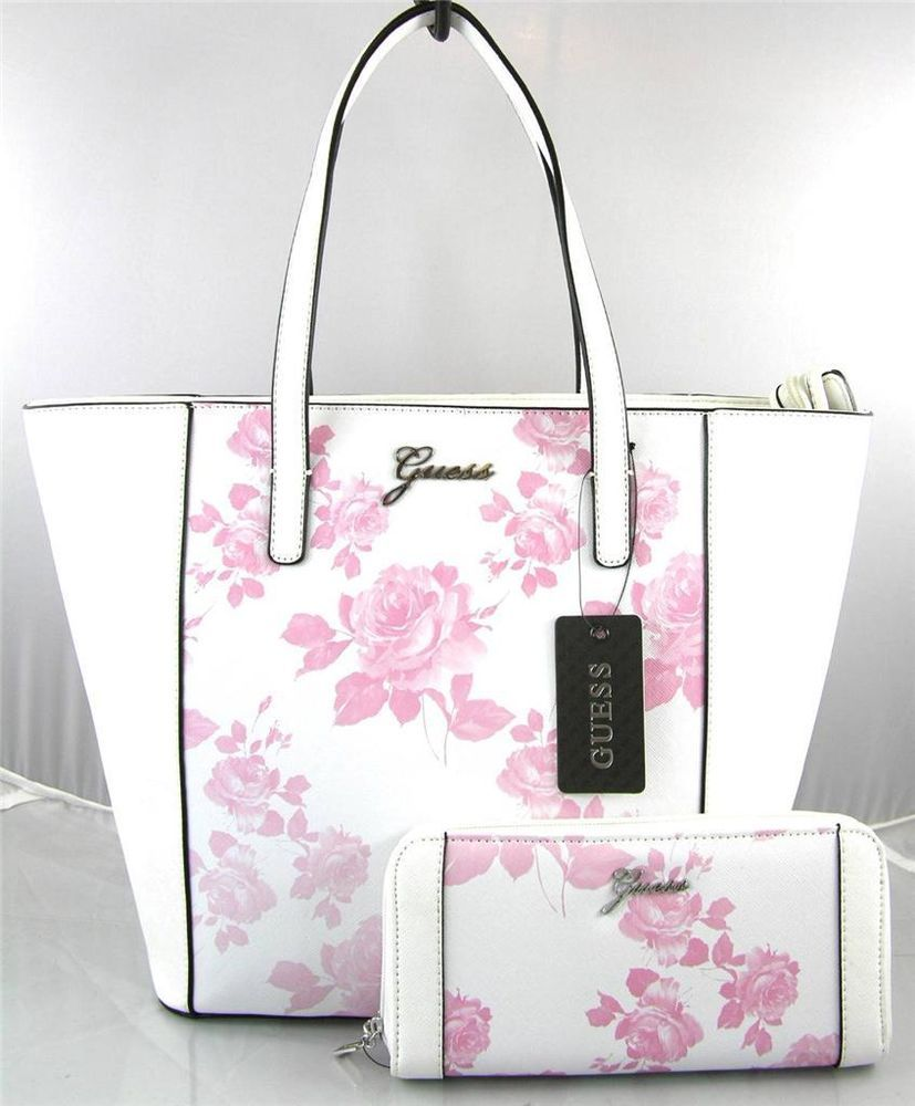 Authentic New Nwt Guess Sonja Pink White Tote Bag Purse Wallet Totespers