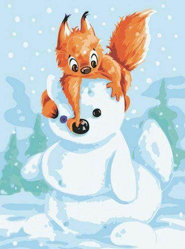 "Белка и снеговик. Раскраска по номерам ""Белоснежка ..."