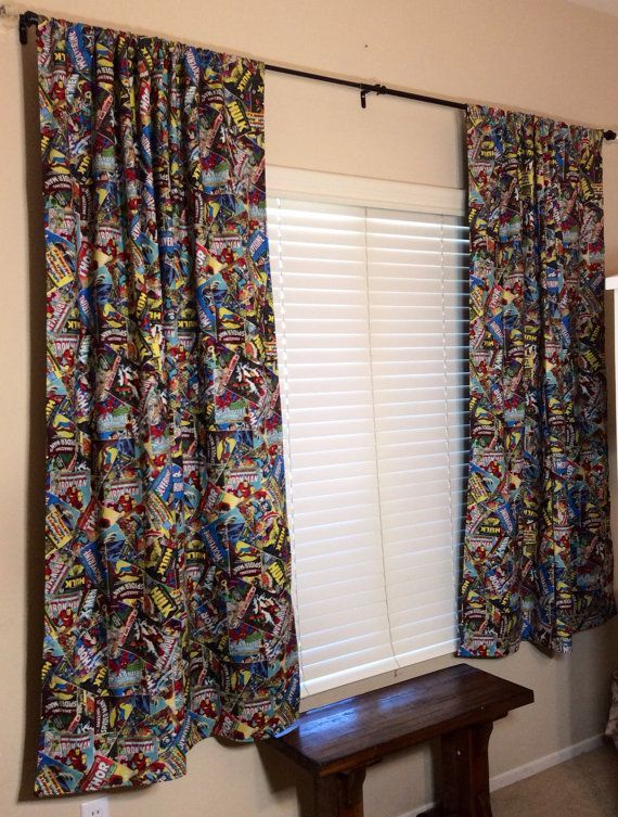Delightful Marvel Retro Comic Book Curtains To Put Over His Closet Opening!?!  Something Along