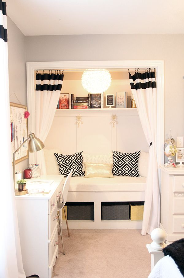 Teen girl s room closet reading nook updated less for Bed nook ideas